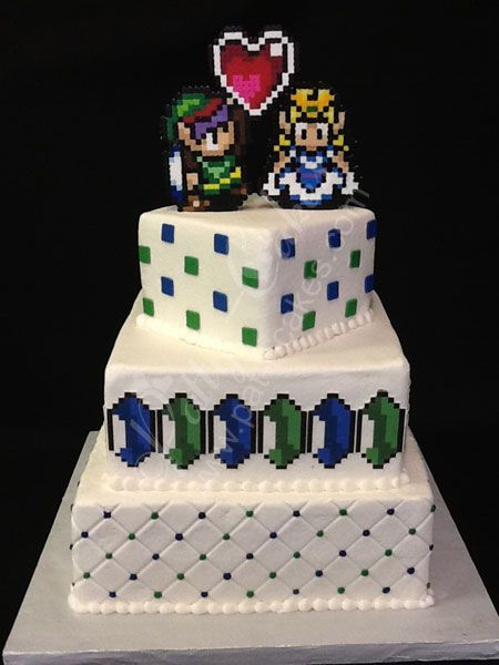 Geek Chic Patty Cakes 2012 Wedding Cakes - Legend of Zelda with Blue and Green Rupees