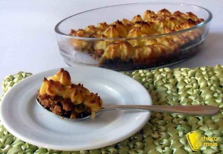 Cottage Pie, pasticcio di carne, ricetta inglese. (Al posto dei 3 cucchiai di concentrato di pomodoro usare un vasetto di salsa fatta in casa)