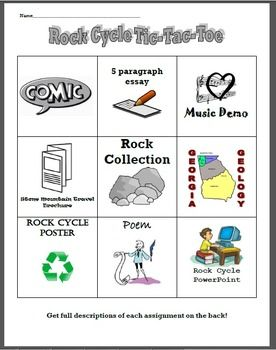 This tic tac toe menu board is a great way to reinforce concepts learned about the rock cycle. It can be used as an extension activity, anchor activity, and is a great way to differentiate instruction. Two of the choices are specific to Georgia's geology (Stone Mountain and Ga Regions).