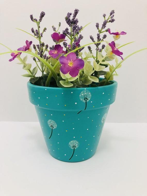 Decoupaged Flower Pots 11 cm Various spring flowers Hand Painted Terracotta