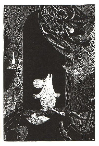 Moomin looked out of the window. The wind blew the curtains away from the dark into the light.