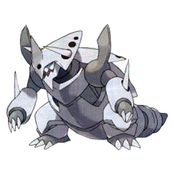 Aggron Mega Evolves into Mega Aggron. When it does, the destructive ability of its fearsome horns can turn a steel-clad tank into so much scrap metal. Aggronite, the Mega Stone needed to Mega Evolve Aggron, can only be obtained in Pokémon Y. By Mega Evolving, Aggron changes both its type and its Ability. By changing to a purely STEEL-type Pokémon, it reduces its weaknesses, and its Filter Ability also reduces the damage it takes from supereffective moves.