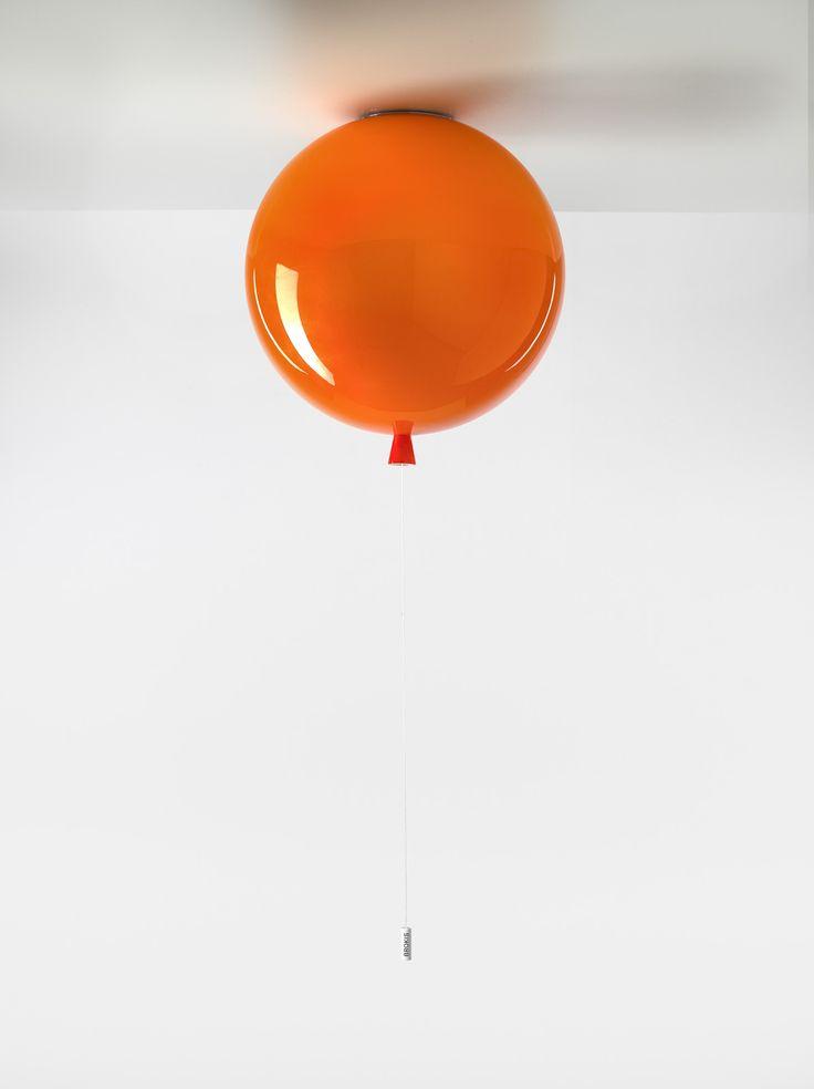 White Interior - Brokis lights - Orange - big balloon Memory is hanging light. Design by Boris Klimek.
