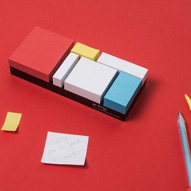 Monde Riant, bloquinho inspirado em Mondrian.