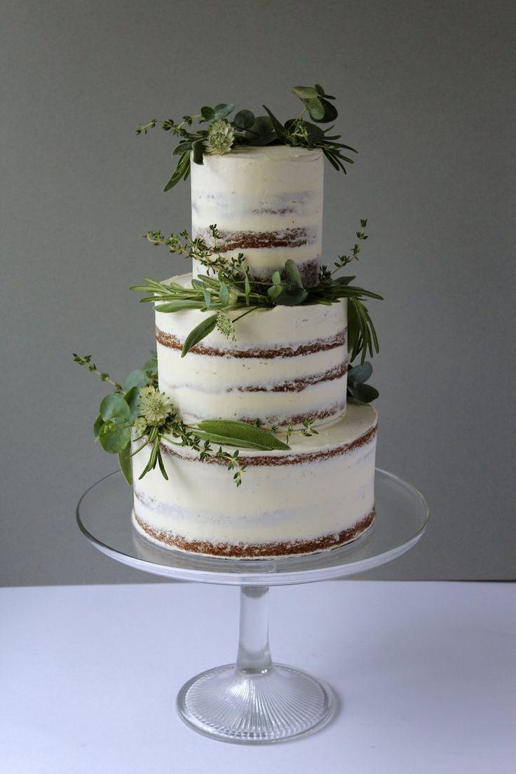 Einfache, halbnackte Kräuterhochzeitstorte von Yolk. www.cakesbyyolk.com   – Dave & Lolly Wedding Cake