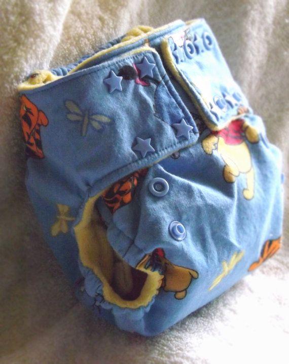 Small Pocket Cloth Diaper, Winnie The Pooh, newborn to 16lbs.