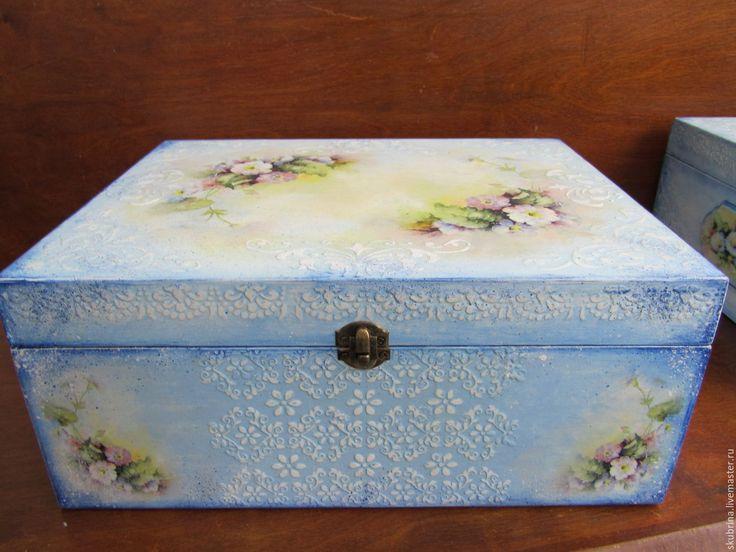 """Купить Большие шкатулки-короба """"Нежные цветы"""" 35х28х15 декупаж - голубой, для бумаг, на письменный стол"""