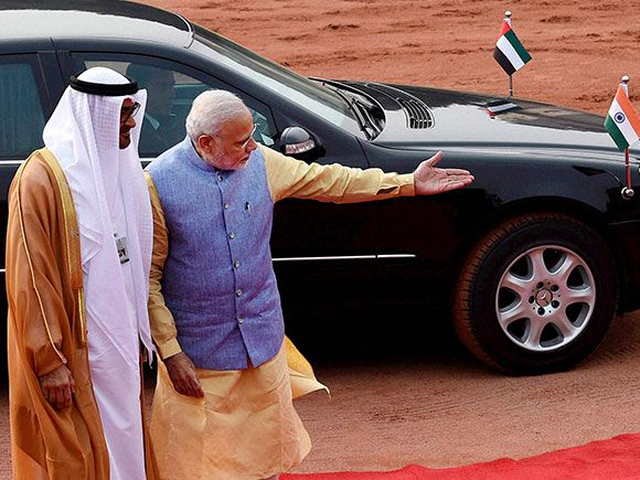 Prime Minister Narendra Modi  welcomes Sheikh Mohammed bin Zayed Al Nahyan, Crown Prince of Abu Dhabi