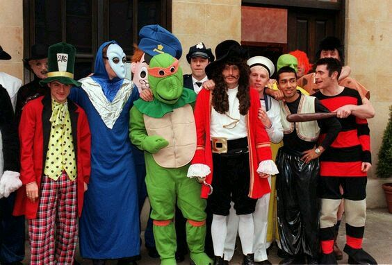 Players in fancy dress at Celtic's Christmas party outside Sizzlers Restaurant, Glasgow in December 2000.