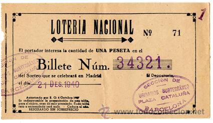 Participación *LOTERÍA NACIONAL Navidad* año 1940 - Nº 34321 - Urinarios Subterráneos Barcelona