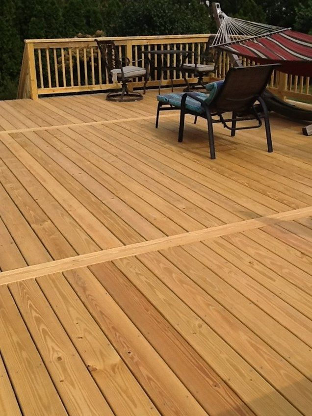 20 Timber Decking Designs That Can Append Beauty Of Your: A 20 By 28 Treated Wood Deck With Two Sets Of Steps And