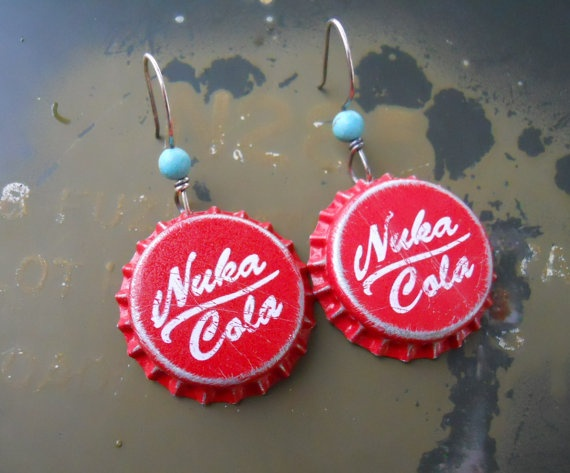 Nuka Cola Earrings. Fallout Caps. $14.00 These are so cool XD
