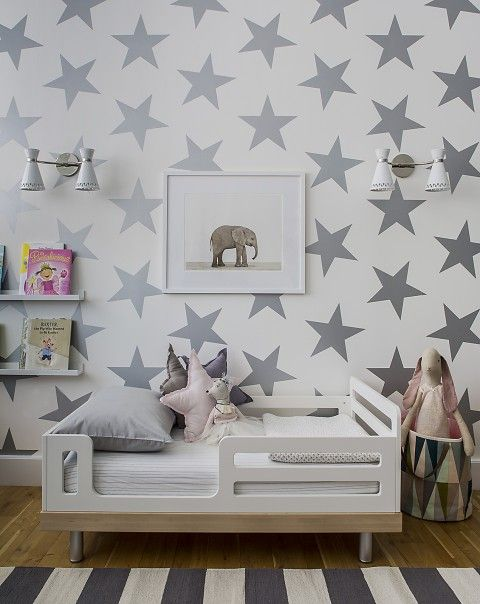 AVERY + SEBASTIAN'S ROOM oeuf toddler bed and wallpaper lucky star from SISSP + MARLEY and Jill Malek