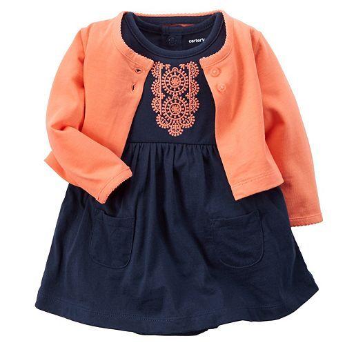 Baby Girl Carter's Embroidered Bodysuit Dress & Cardigan Set