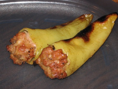 Sausage Stuffed Banana Peppers