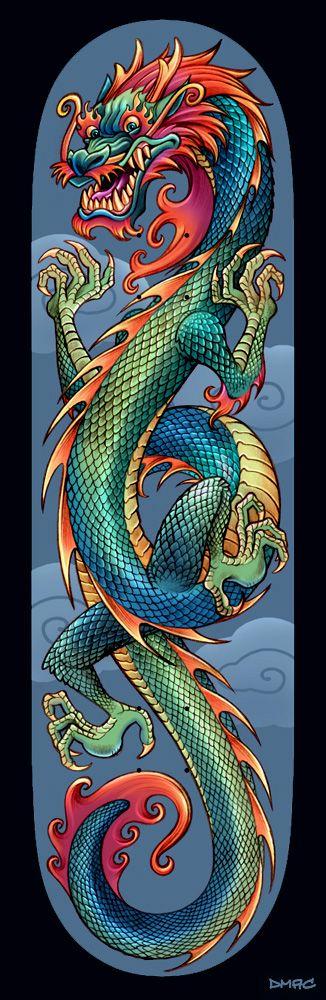 Monopatín del dragón chino