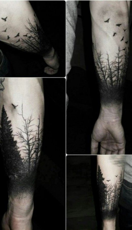 forest sleeve tattoo design black ink