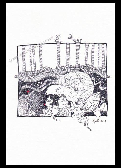 Illustration print by Emma Giles.Fox sleeping ART002P www.therainbowstudio.co.uk