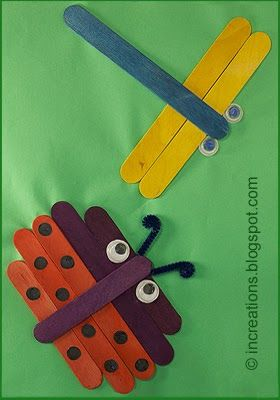 Very special crafts can be made using wooden craft sticks (a.k.a. popsicle sticks or lolly sticks), like this ladybug and dragonfly collage...