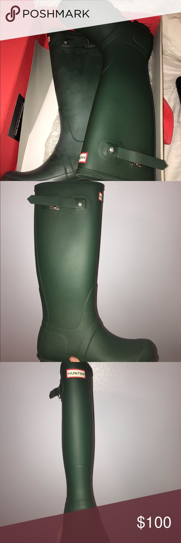 Matte Hunter Green Tall Hunter Rain Boots Original style, matte hunter green, size 7 woman's, never worn. Hunter Boots Shoes Winter & Rain Boots