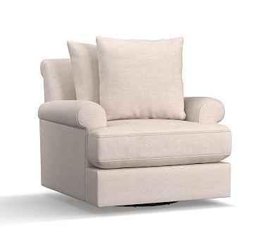 Amalie Upholstered Swivel Armchair, Polyester Wrapped Cushions, Sunbrella(R) Performance Sahara Weave Ivory