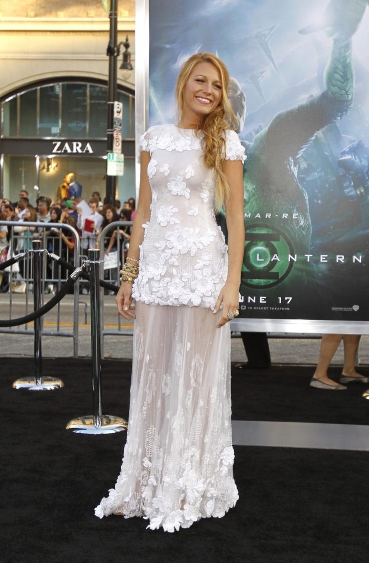 Tender White Lace Dress - Blake Lively, Green Lantern Premier