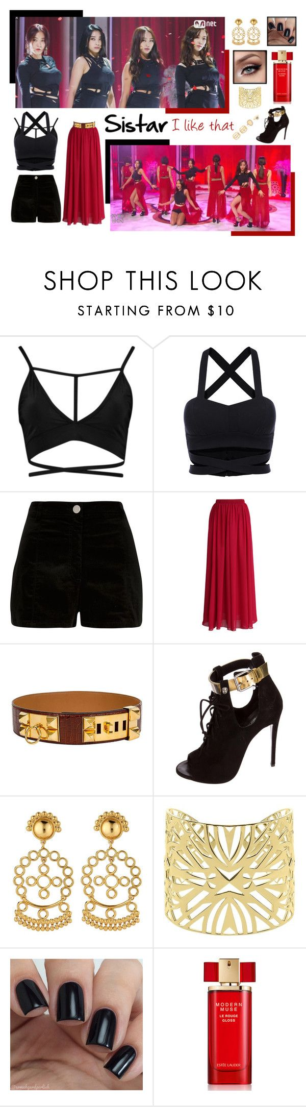 """Sistar ""I like that"" black & red ver."" by bambam7a1 ❤ liked on Polyvore featuring River Island, Chicwish, Giuseppe Zanotti, Asha by ADM, Vélizance, Estée Lauder and LULUS"