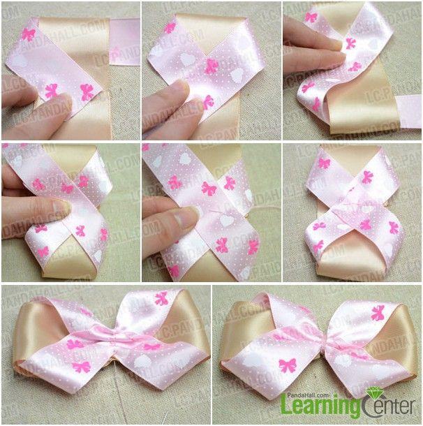 Step 2: Make hair bow with pink ribbon