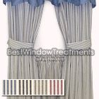 Classic Stripe Ticking Tier Curtains in black -traditional style for kitchen or living room window coverings