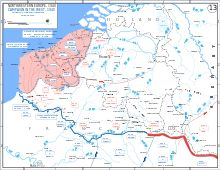 Situation on 4 June 1940. The remaining French rearguard held a tiny sliver of land around Dunkirk.