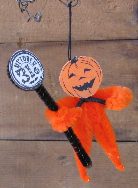 Halloween Chenille Pumpkin Man Ornament  about 3 by HumblePiePrims, $4.00
