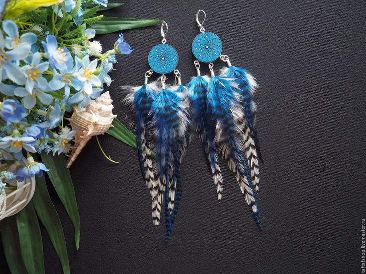Гром и молния - синие яркие серьги с перьями бохо с ловцом снов - серьги с перьями