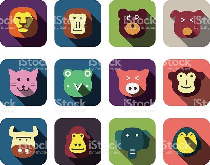 Zwierzęcia twarz zestaw ikon płaskie stockowa ilustracja wektorowa royalty-free