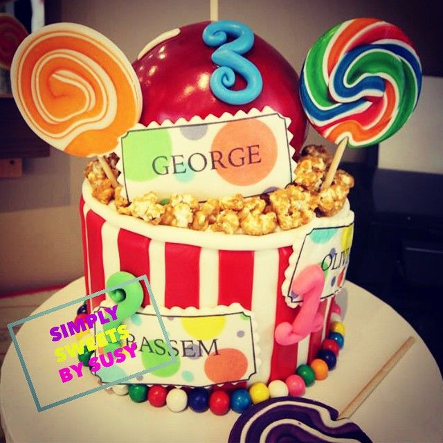 Had so much fun creating this carnival themed birthday cake! #birthdaycake #carnival #fallfair #fall #customcakes #themedbirthday #torontocakes #simplysweets