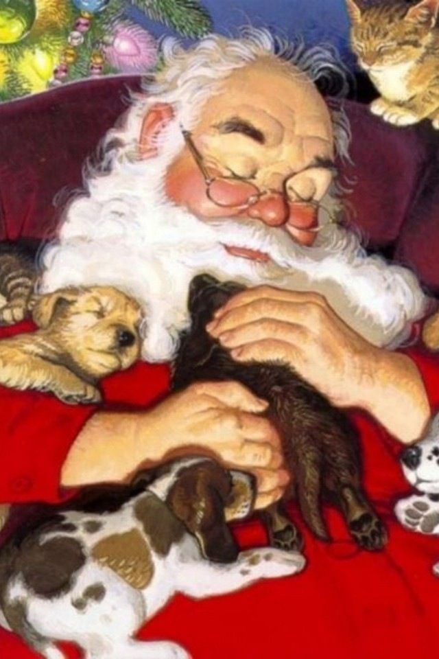 Santa Claus sleeping with puppies and kitten: