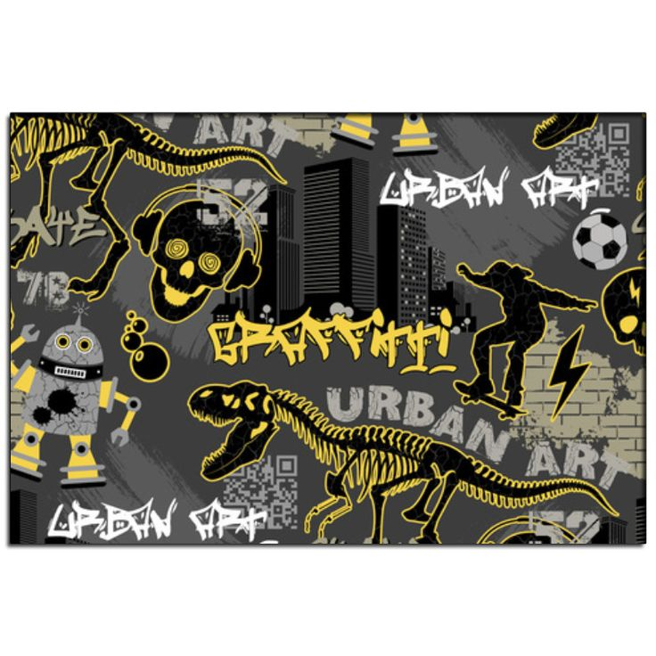 Urban Graffiti Pillowcase Sham from Extremely Stoked Skateboard Bedding