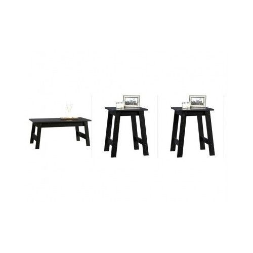 Black Coffee Table Set Modern Style Furniture Sofa Living Room With 2 End Tables Modern