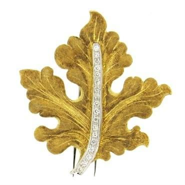 18k yellow and white gold brooch, crafted by Mario Buccellati, depicting leaf, d...