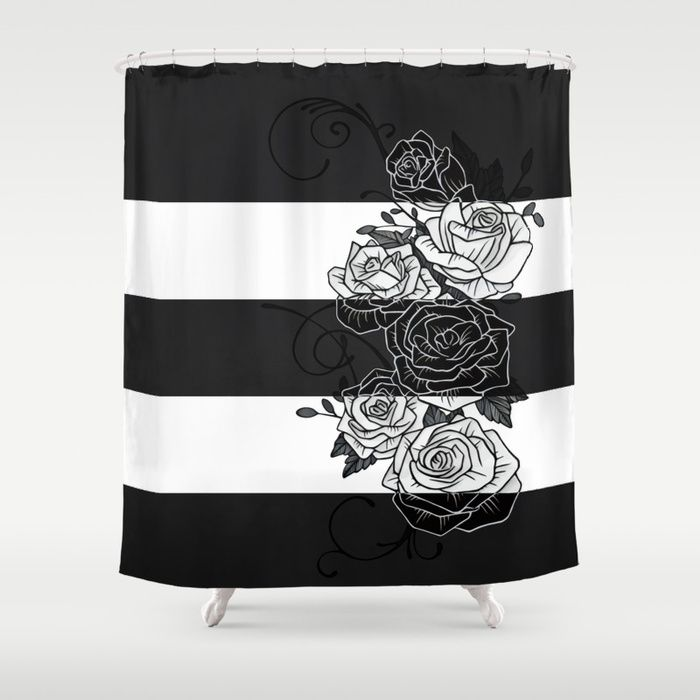 Inverted Roses Shower Curtains. Customize your bathroom decor with unique shower curtains designed by artists around the world. Made from 100% polyester our designer shower curtains are printed in the USA and feature a 12 button-hole top for simple hanging. #roses #rose #flower #swirls #blackandwhite #striped #stripes #inverted #shower #curtains #bathroom #homedecor