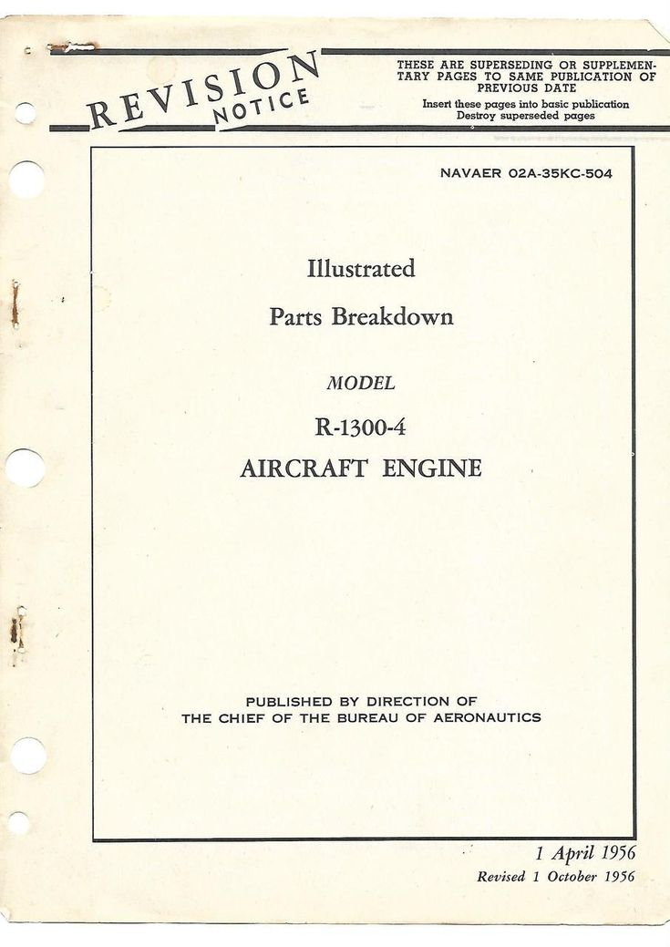Wright R-1300 -4 Aircraft Engine Illustrated Parts breakdown Manual - 1956 - NAVAER 02A-35KC-504 - Aircraft Reports - Aircraft Manuals - Aircraft Helicopter Engines Propellers Blueprints Publications