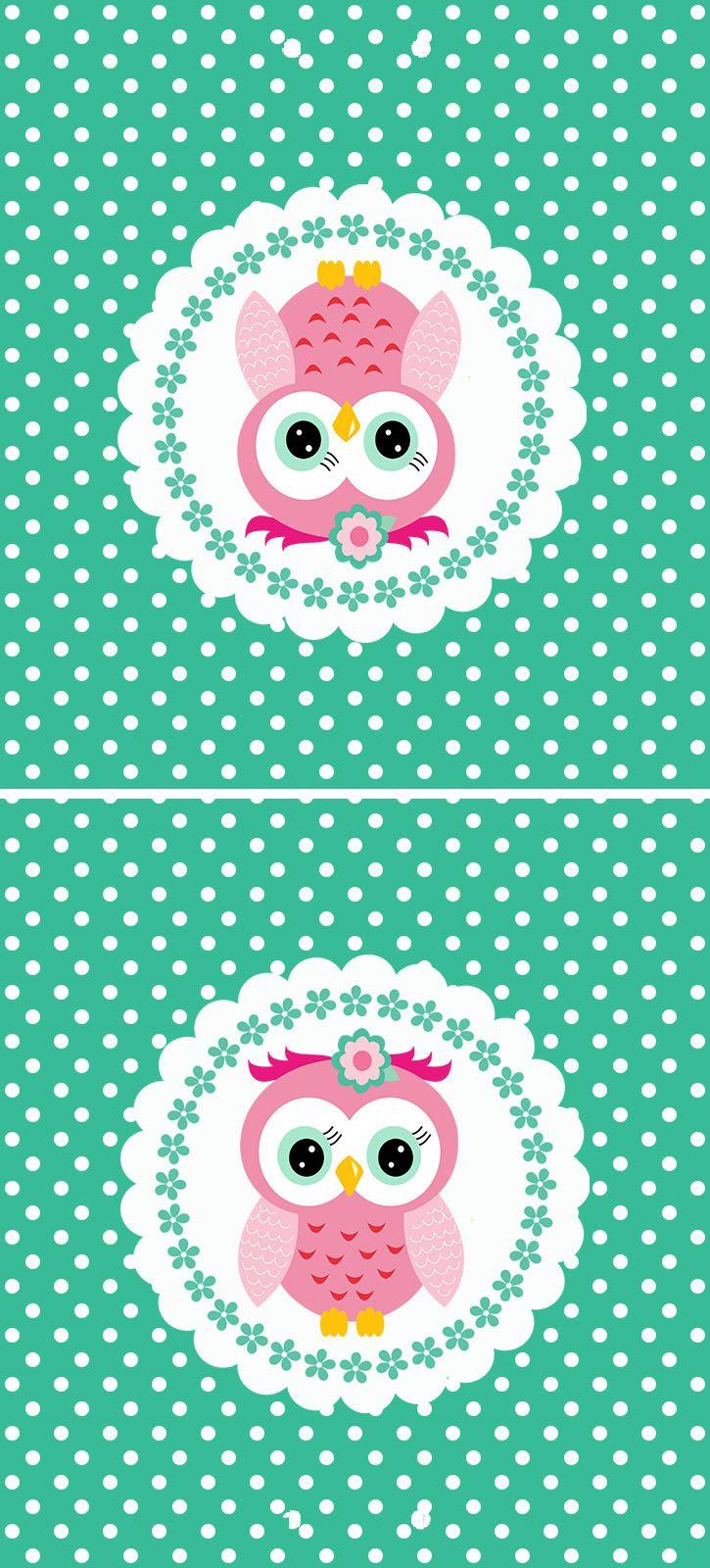 Oh My 15 Años!: Mini Kit Buhita Rosa en Fondo Verde con Lunares para Imprimir Gratis.