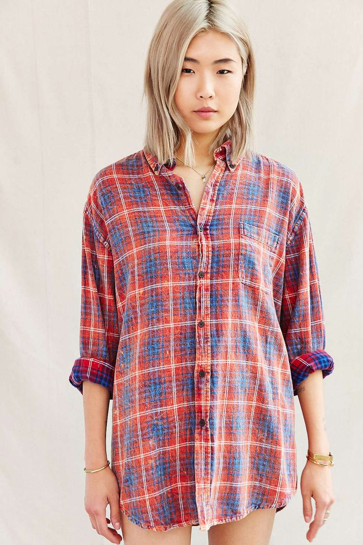 Urban renewal vintage acid wash flannel shirt hippie for How to wash flannel shirts