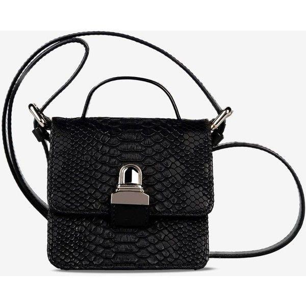 Mm6 By Maison Margiela Shoulder Bag (3.820 DKK) ❤ liked on Polyvore featuring bags, handbags, shoulder bags, black, shoulder bag handbag, croc handbags, croco embossed handbags, croc purse and shoulder handbags