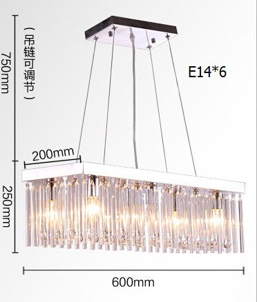 Free shipping! Clear crystal glass water-drop pendant light /rectangle unique dinner E14 led 60cm light corridor droplight