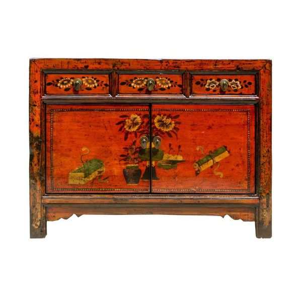 Antique Red Painted Cabinet 2 Doors www.theimporter.co.nz