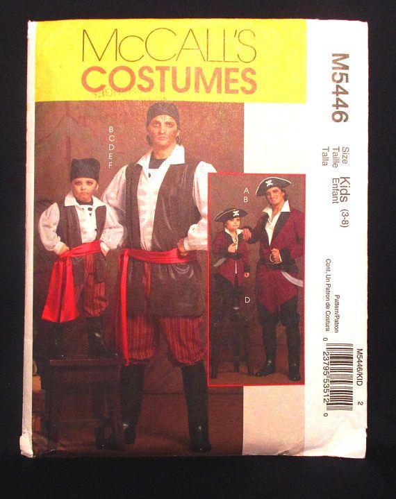 McCalls M 5446 Child Boys Pirate Costume Halloween Sewing