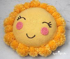 Crochet PomPom Sunshine Pillow for the CYC Pompom Party!