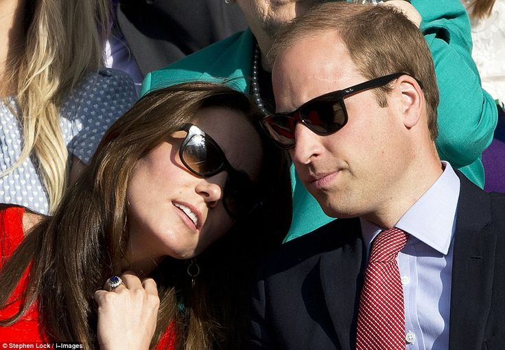 Tender moment: Kate appeared to rest her head on her husband's shoulder later in the day: