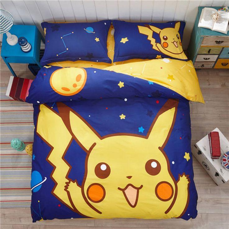 Pokemon Bettwäschesatz Cartoon Kinder Lieblings Heimtextilien Pikachu in den Späten Nacht Kein Ausbleichen Bettlaken Twin Königin Bettdecke