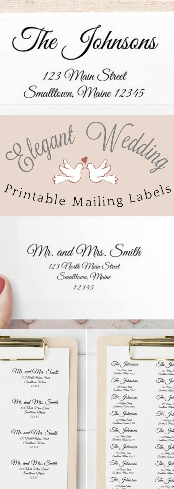 Elegant Wedding Printable Mailing Label Template Bundle | Elegant  Calligraphy Script Address Label Templates For Wedding  Address Label Template Free